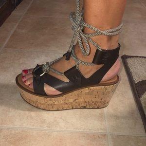 🆕 Frye Platform Ankle Tie sandal -Dark Brwn Sz 37